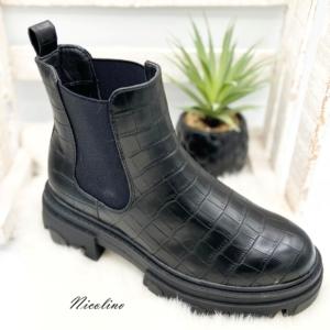 Boots Lucie noires croco